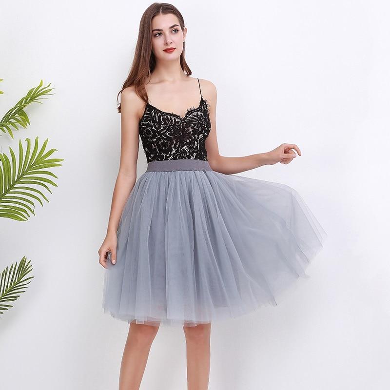 New Puffty Layered TUTU Tulle Skirts Womens High Waist Midi Knee Length Chiffon Skirt Jupe Female Tutu Skirts Faldas Saia