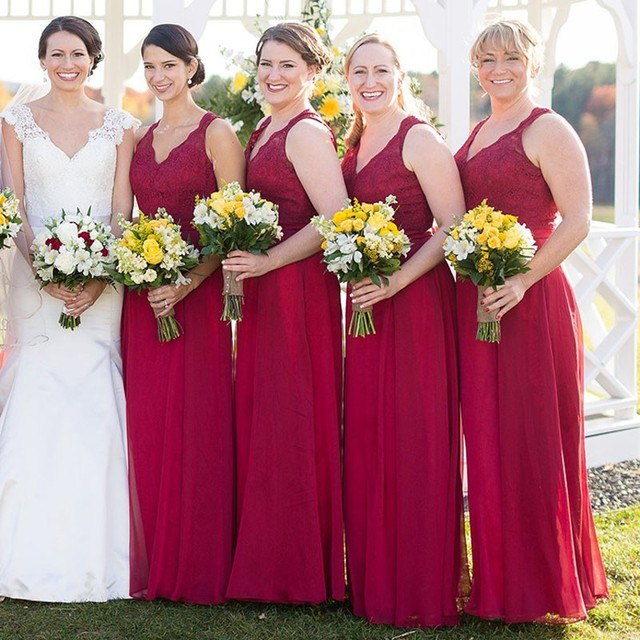 9d79d090d74 Dark Red Long Bridesmaid Dresses V Neck Tank Straps Lace Top keyhole Back  Floor Length Outdoor Wedding Party Gowns Custom