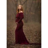 Trailing Pregnancy Dress Photography Shoulderless Maternity Dresses For Photo Shoot Vestidos Robe Grossesse Shooting Photo Dress