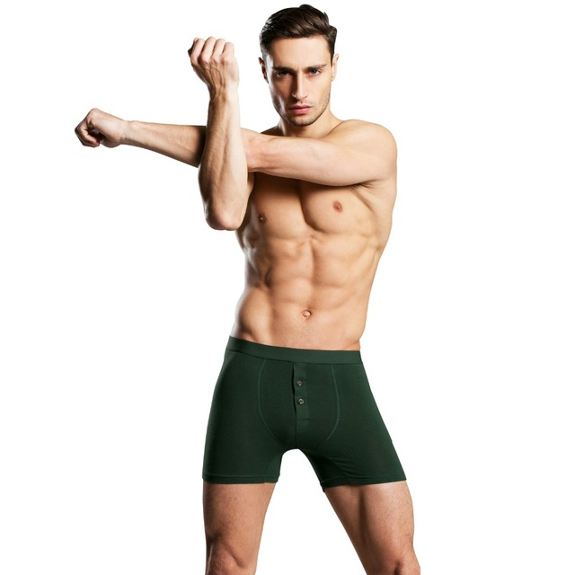 c83ad6e42adbf8 US $4.84 32% OFF|Best Selling Button Cotton Comfortable Long Leg Men's  Boxers Shorts Button Front Open Male Underpants Man Underwear-in Boxers  from ...