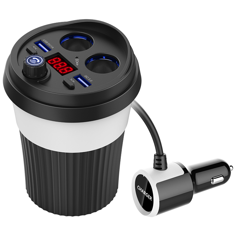 2 USB bluetooth car charger cup phone adapter QC3.0 fast charging digital display hands-free 2 Socket Cigarette Lighter Adapter