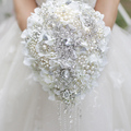 Белый Гортензия падение брошь букет Серебряная свадьба свадебные букеты кристалл teardrop стиль Невесты Букет Жемчужные кисти декор