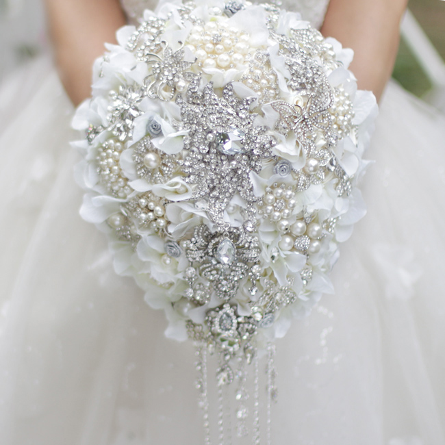Buy White Hydrangea Drop Brooch Bouquet