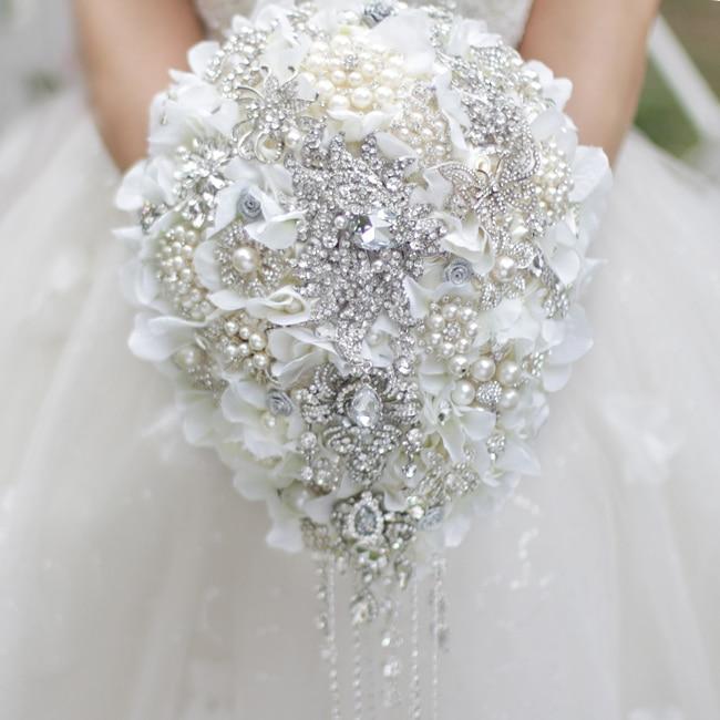 White Hydrangea drop brooch bouquet Silver wedding bridal bouquets crystal teardrop style Bride s Bouquet Pearl