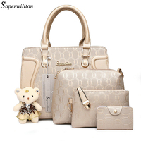 Soperwillton Composite Bag Patchwork Women Shoulder Bags Crossbody Messenger Bag With Bear Doll 4 Pieces Set