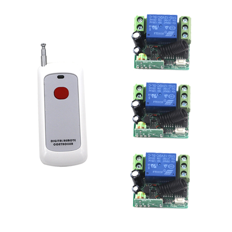 New Arrival DC 12V 1CH Small Wireless Remote Control Radio Switch 315mhz 1 Transmitter 3 Receiver 200m High Sensitivity 4063 new arrival dc 12v 4ch small channel rf wireless remote control radio switch 433mhz transmitter receiver 200m high sensitivity