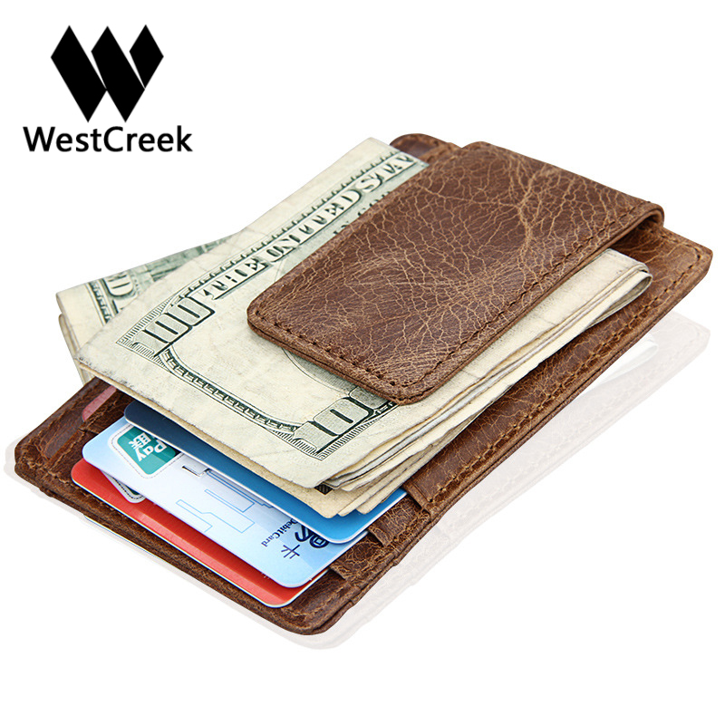 Westcreek Brand Genuine Leather Men Fashion Thin Magnetic Money Clip ...