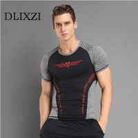 Fashion stitching men t-shirt compression shirt marvel bodybuilding fitness sporting summer tee shirt homme large size tops