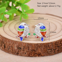 2019 Hot Sales 925 Silver Stud Earrings Beautiful Vivid Owl and Color Enamel Earring for Women Animal Jewelry hot sales vivid life size skull model