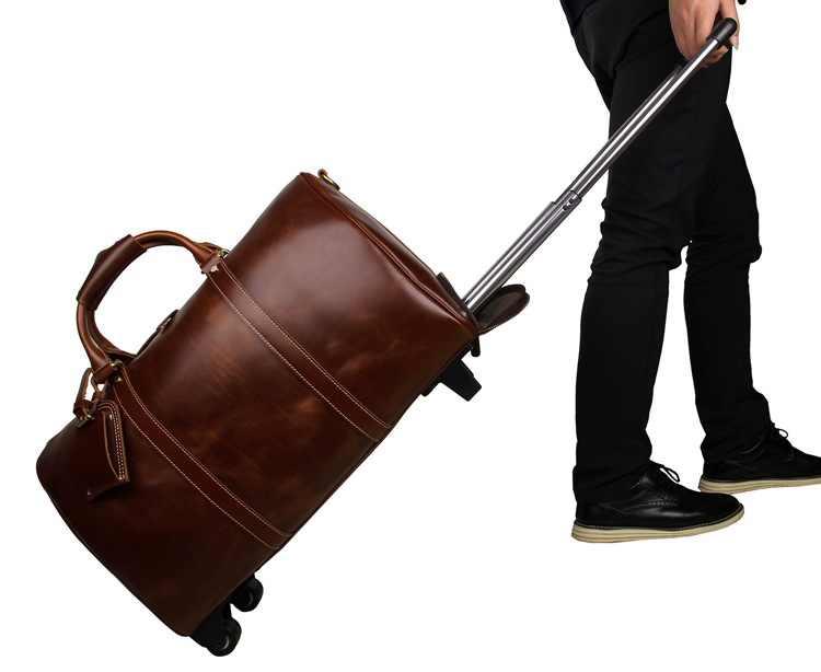 J.M.D, bolso de lona de cuero de vaca de calidad, bolso de equipaje, bolso único, bolso de ruedas de gran capacidad, bolsos de viaje con ruedas, 7077LB/LA