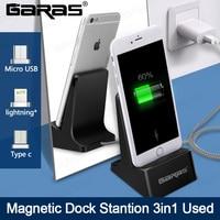 Stacja Dokująca GARAS, Magnes Pulpitu/Micro USB/Typu c stacja ładująca Dla Android/Iphone Dock Station Kabel magnetyczny Dock Pulpit
