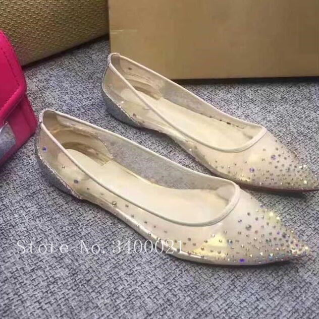 2018 Spring Summer Flats Fashion Brand Luxury Crystal Pointed Toe Lace Women Flats Sexy Sweet Glliter Shiny Covert Heel Shoes pointed toe tie leg flats