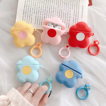 3D Cute Cartoon Candy Color Flower Earphone Case For Airpods 2 Liquid Soft Silicone Cover Airpods1 with Finger Ring Straps