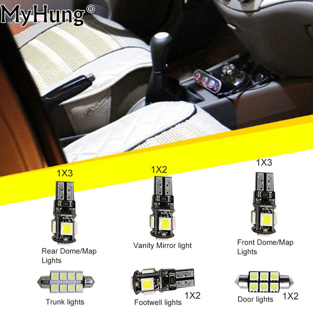 For Ford Mondeo MK3 Convenience Bulbs Car Led Interior Light C10W W5W Replacement  Bulbs Lamp Light Bright White 13PCS Per Set