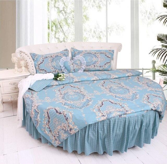 Round Bed Brief Blue Stripe Bedding Kit Super California King Size