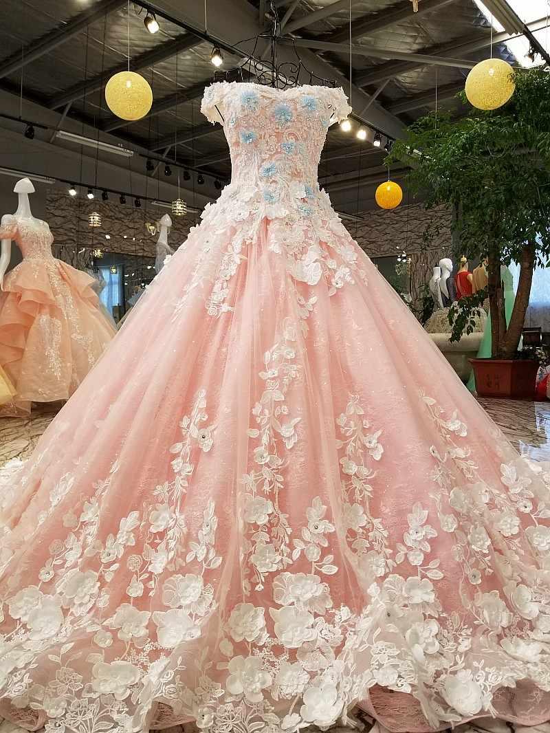 885898df75b2970 ... LS00368-1 розовые кружева 3D цветы с плеча вечернее платье роскошные  красивые ...