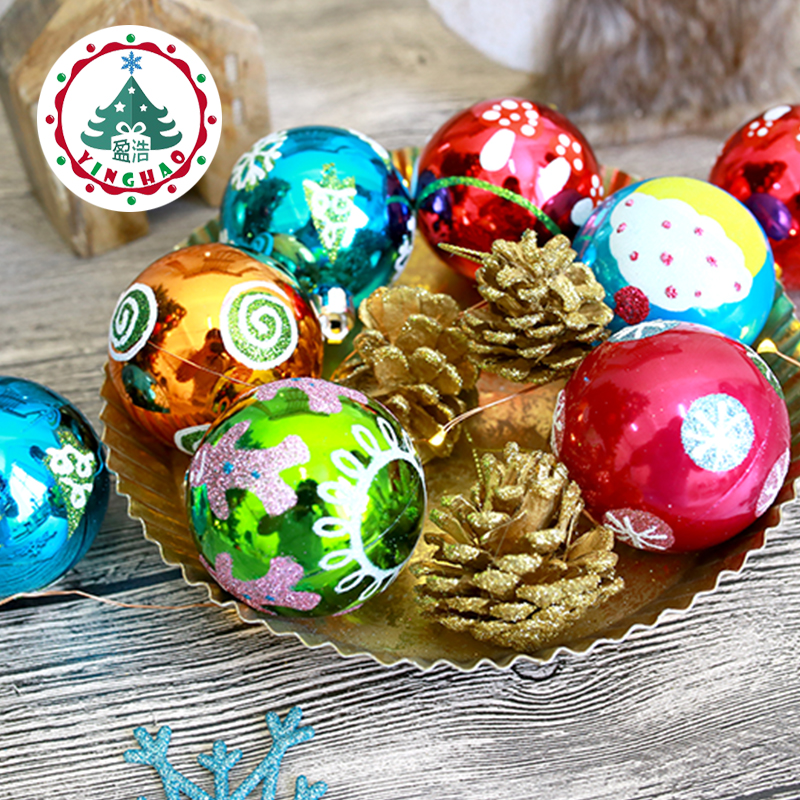 inhoo Upscale Christmas Tree Decorations 6 8cm Multicolor Hanging Christmas ball Ornaments baubles for Festival font