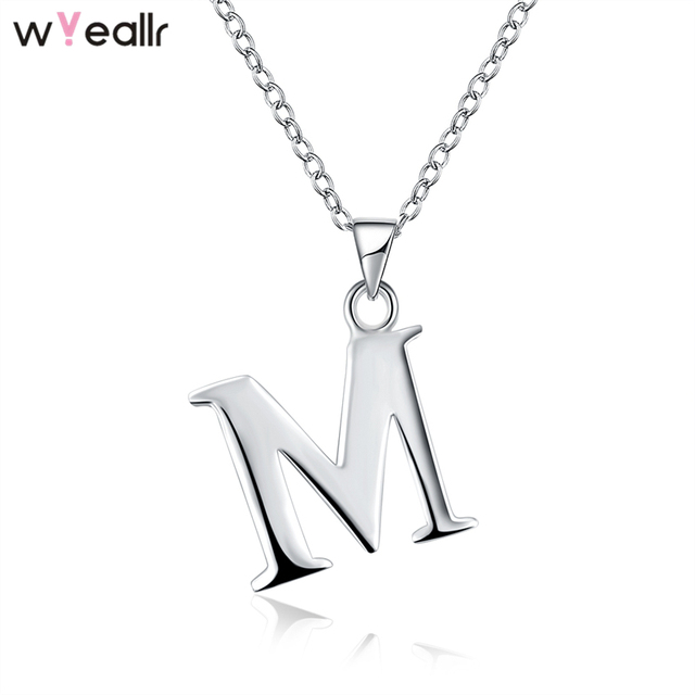 51bd1a1e6add4 2018 Fashion Jewelry 925 Sterling Silver Letter M Charm Pendant Link Chain  Necklace For Women Lover Gift Accessories WSN125