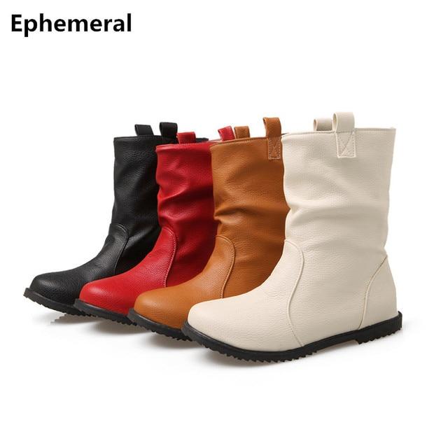 Của phụ nữ May Mid Giày Không Thấm Nước kích thước Thật 34-52 Dài Căn Hộ Thời Trang Booties Nữ Giày Dép toe Vòng Kvoll Botas Femininas Đỏ