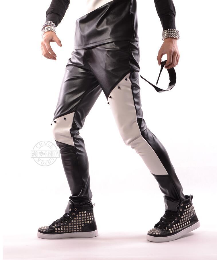 Tamaño Costura Trajes Más Cuero Blanco Estilista Ropa 44 Remache Pu 2017 27 Pantalones Negro Cantante 1Cqwx47BnY