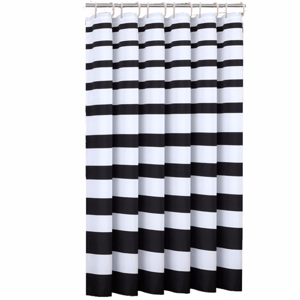 Black shower curtain hooks - 180x200cm Thicken Mildew Resistant Washable Polyester Fabric Shower Curtains Liners Waterproof Black And Whit No Odor With Rings