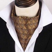 Korean Silk Bridegroom Wedding Evening Party Men Formal Tuxedo Suit Golden Yellow Neckerchief Scarf Embroidery Tie Cravat