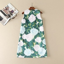 Cute floral sequined appliques women sleeveless shift dress patterns print casual dresses new 2017 spring summer runway green