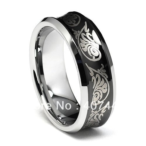 Free Shipping Buy Cheap Price USA Brazil Russia Hot Sales 8mm Black Tribal Concave Tungsten Carbide