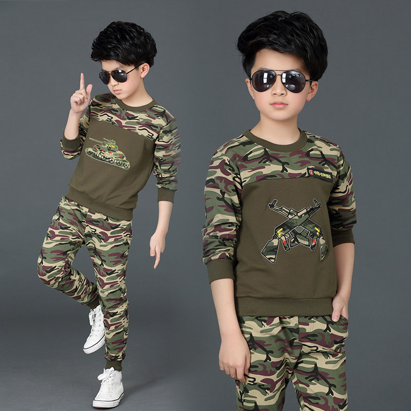 2018 New Spring Autumn Camouflage Suit Boys Clothing Sets Active 2 Piece Set Boy Outfit Teenage Clothes Kids Sport Costums
