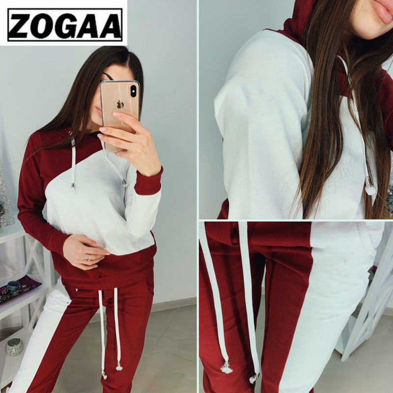 ZOGGA Color Blocking Hooded Women Casual Sets 100% Polyester Breathable 2 Piece Fitness for Leisure Suits with Belt