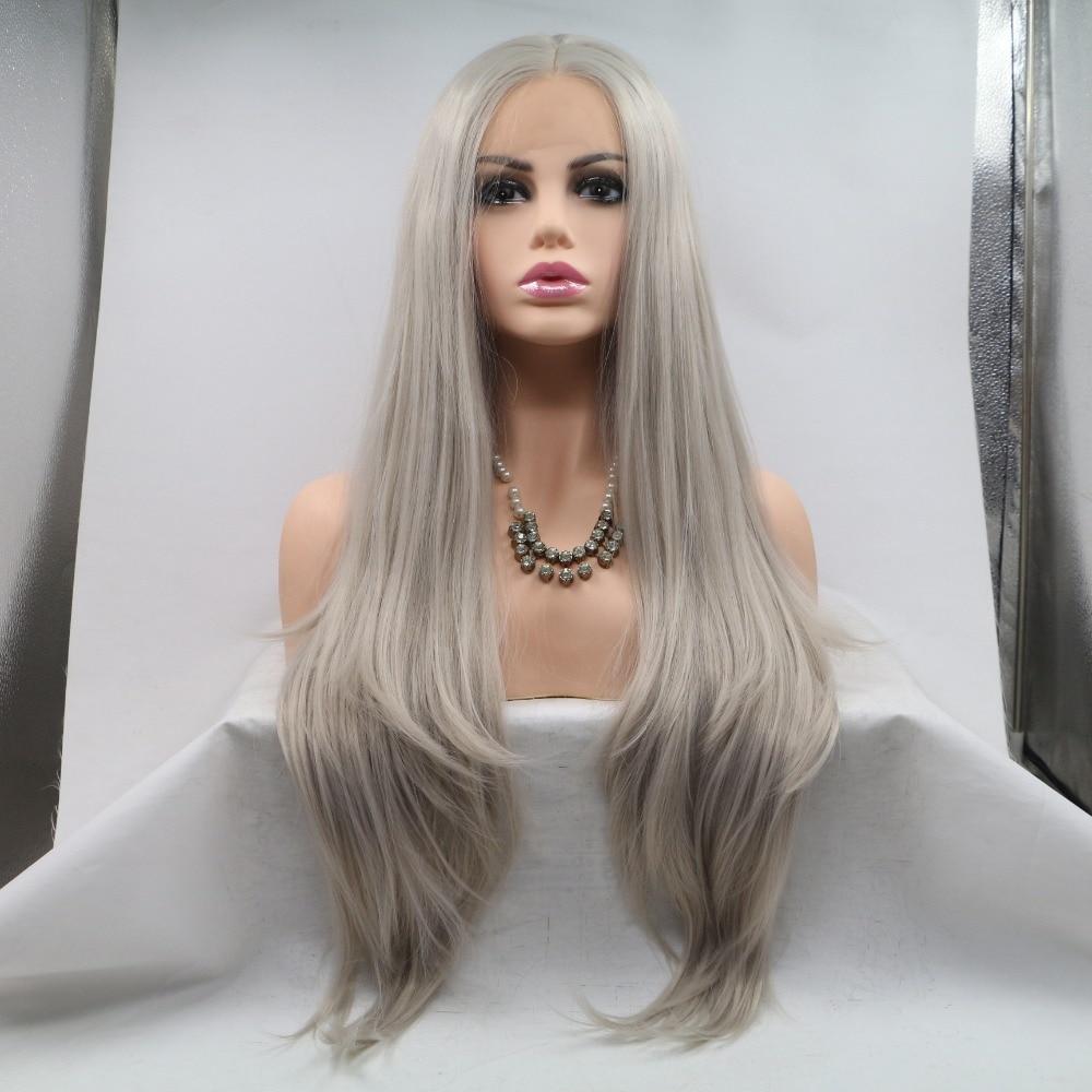 100% Wahr Fantasie Schönheit Hitzebeständige Faser Haar Meerjungfrau Seidige Gerade Asche Blonde Grau Synthetische Spitze Vorne Perücke Für Frauen GroßE Auswahl;