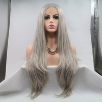 Fantasy Beauty Heat Resistant Fiber Hair mermaid Silky straight ash blonde gray Synthetic lace front wig for women