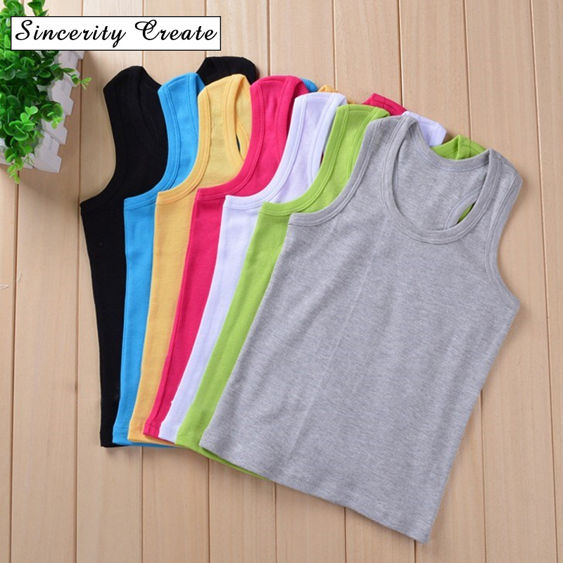 2019 100% Cotton Boys Girls Tank Tops Sleeveless Camisole For Kids KT-1818