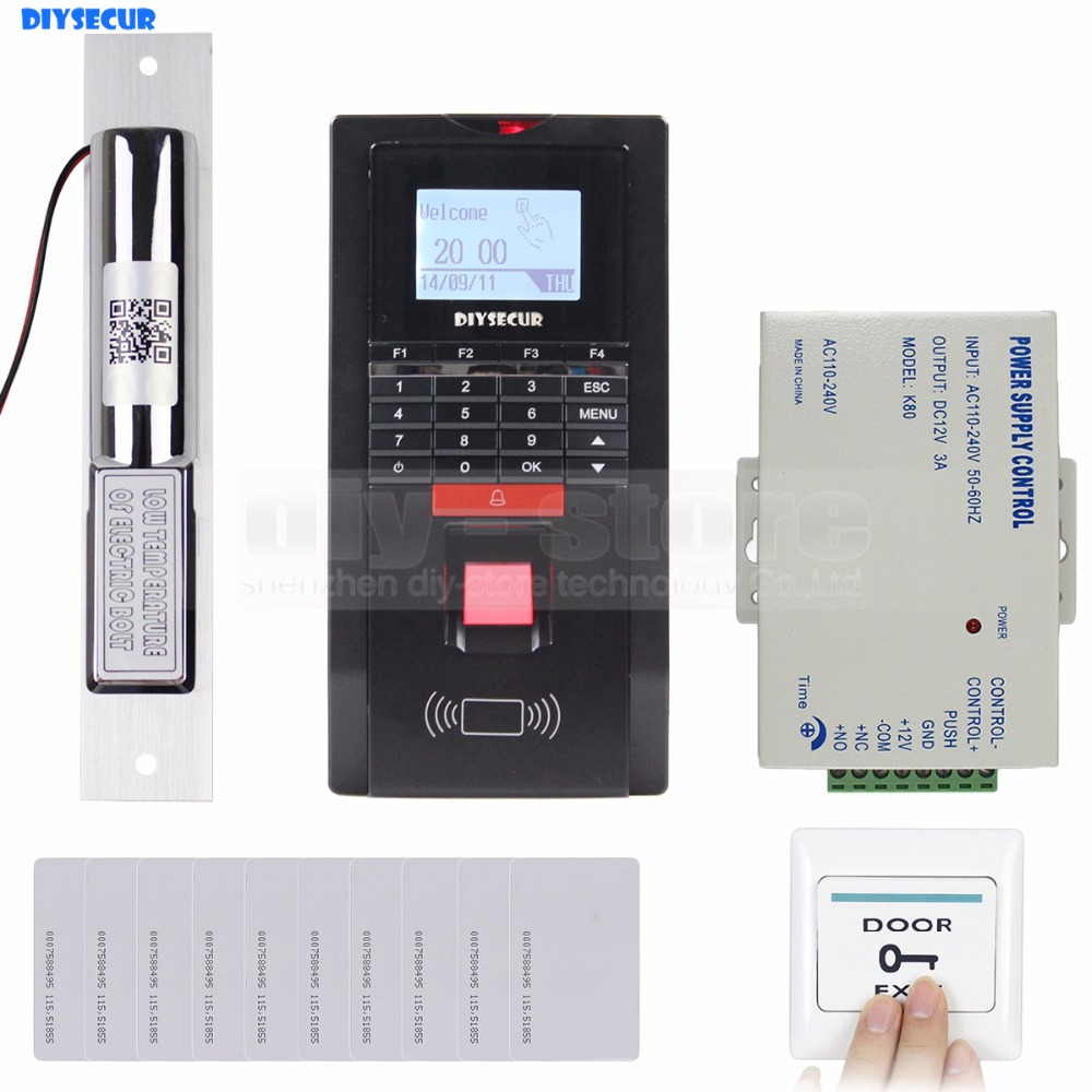 DIYSECUR Full Kit Set Fingerprint Id Card Reader Password Keypad Door Access Control System Kit Drop Bolt Lock for Office /House diysecur tcp ip usb fingerprint id card reader password keypad door access control system power supply 280kg magnetic lock