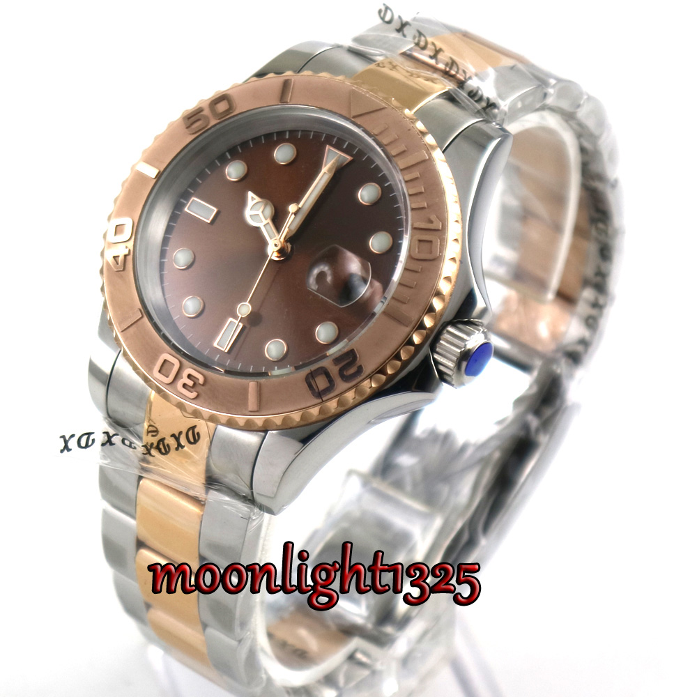 40mm parnis brown dial sapphire crystal deployment clasp automatic mens watch