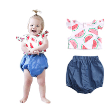 Babies Summer Fruits Printing Clothing Set Newborn Infant Baby Girl Cool Outfits Clothes Watermelom Tops+Bottoms Shorts 2pcs new