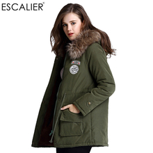 Escalier Women s Fur Winter basic Jackets Fur Collar Coat Jacket Thick Warm Hooded Zippers Warm