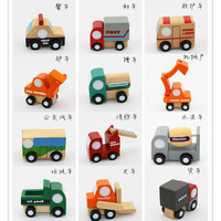 Cute Children Baby Funny Toys Japan High Quality Small Wooden Mini Cars Set Toys Jeep Digger