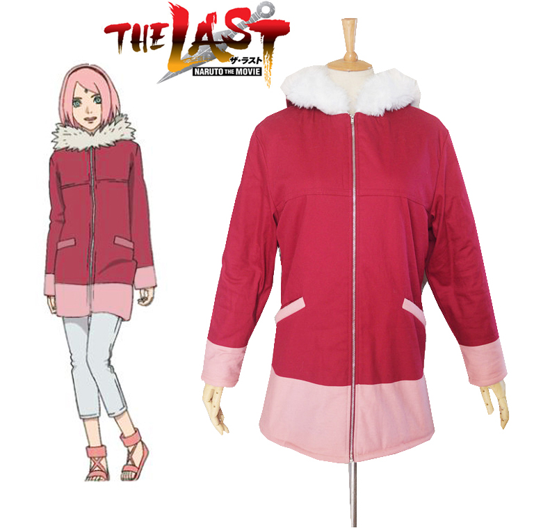 Free Shipping font b Naruto b font The movie The last Sakura Haruno Winter Coat Anime