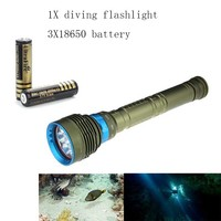 Ultrafire LED Diving 18650 Flashlight XM L2 18000LM 3 Mode Aluminum Torch Lantern Hunting Rechargeable 18650 Battery Aided Shoot