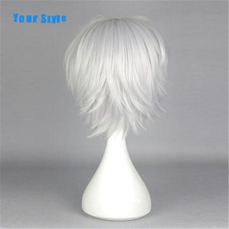 Ваш Стиль Короткие Silver grey Косплэй мужской Искусственные парики для вечерние cosutme Белый синтетический мужские натуральные волосы жаропрочн...