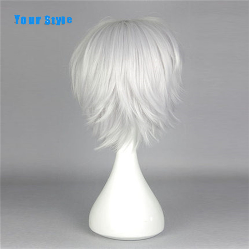 Your Style Short Silver Grey Cosplay Male Wigs For Party Cosutme White Synthetic Mens Natural Hair  Heat Resistant Fiber