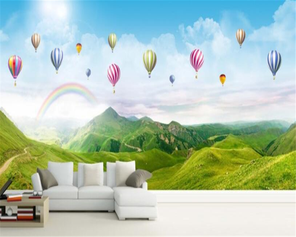 Beibehang Custom Wallpaper Mural Ultra Hd Panorama Rainbow Hot Air