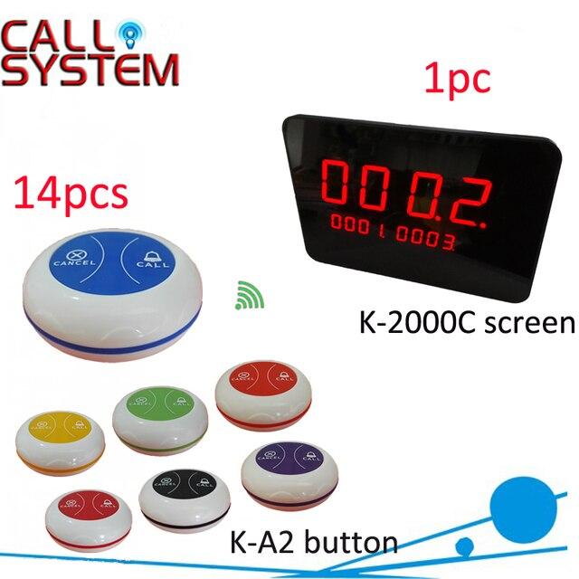 Ycall Беспроводной зуммер ресторан caller стол вызова/вызова кнопку (1 дисплей панели 14 передатчиков)