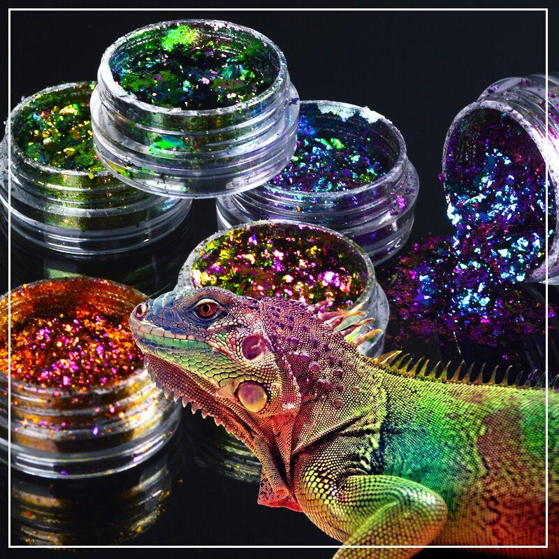 1 caja Camaleón Lentejuelas de uñas Brillo polvo holográfico Polvo Deslumbrante Manicura transparente Nail Art Decoraciones de hoja de brillo