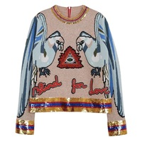 Parrot Sequin Top Women Long Sleeve Sweater Animal Embroidery Back Zipper Wool Knitted Pullover Ladies Casual Top
