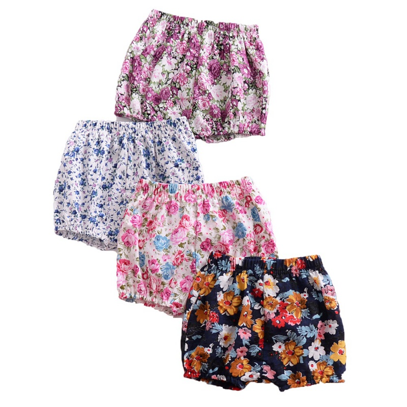 Summer Europe and the United States baby gril floral   shorts   children bread PP purple flower printed   shorts