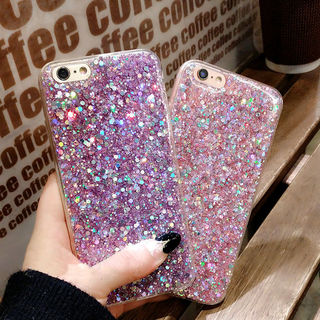 best sneakers 49bca a848e US $1.59 20% OFF|TUMI.OvO Phone Case for iPhone 7 8 Case Silicon Bling  Glitter Crystal Sequins Soft TPU Cover Fundas for iPhone 5 5S 6 6S Plus  X-in ...