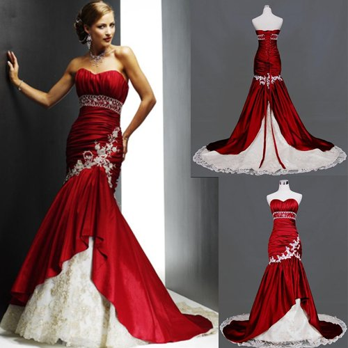 Free Shipping New Taffeta And Lace Chapel Train Sweetheart