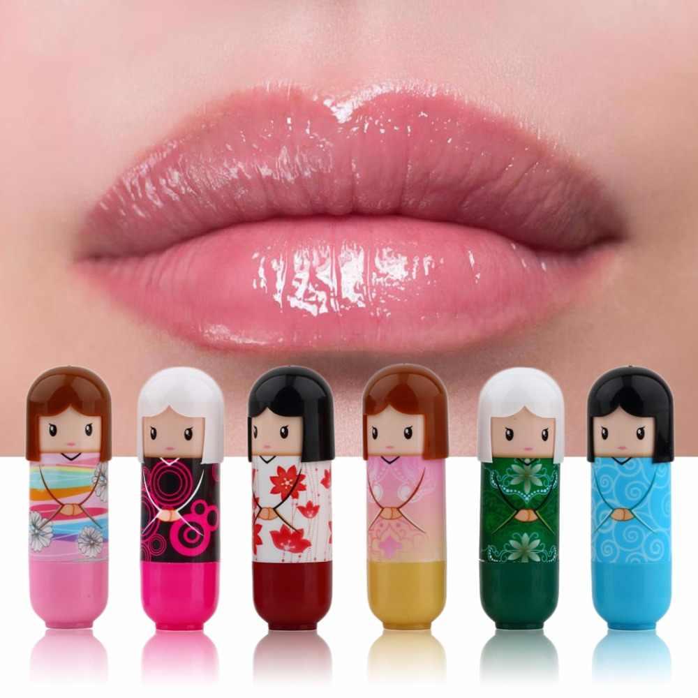 6 pcs קריקטורה בובת לחות שפתון קוריאני קוסמטיקה יפה דפוס מתנה צבעוני Kawaii הווה עבור ילדה ליידי